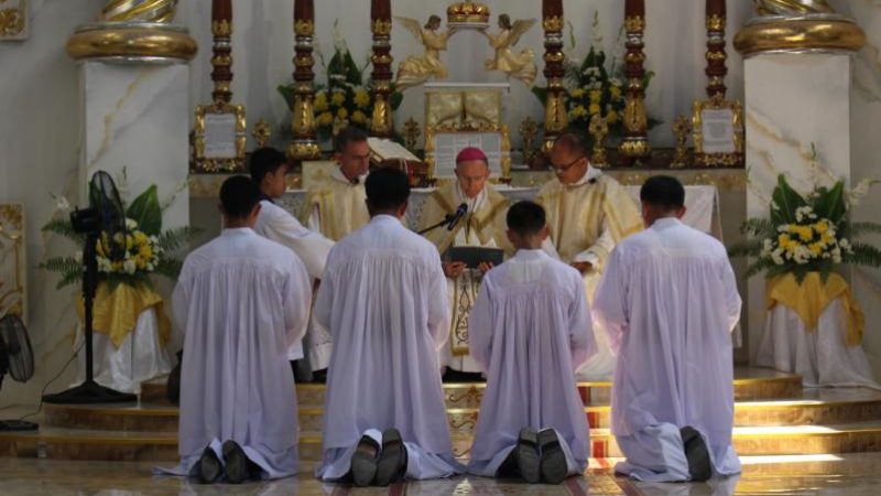 The Novices making their vows before His Excellency, Bishop Tissier de Malerais, 29 September 2019