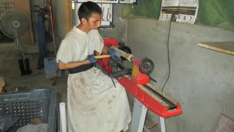 Brother on the wood lathe …