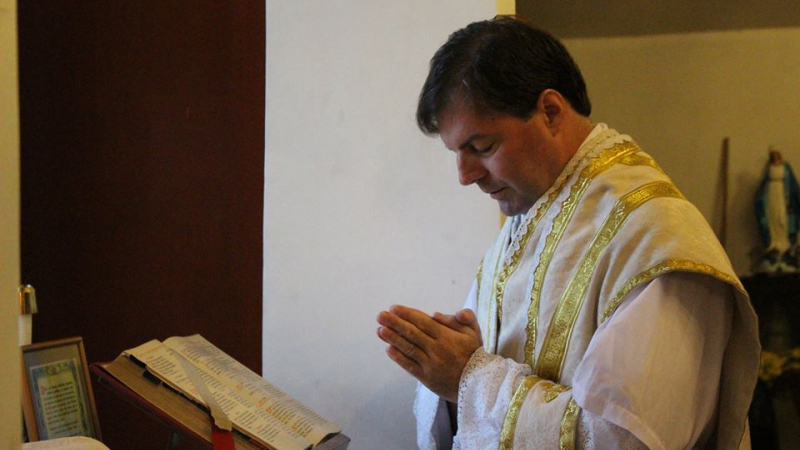 Fr. Fabrice Loschi, the Prior of Our Lady of Guadalupe Church in Colombo, Sri Lanka, saying his private Mass