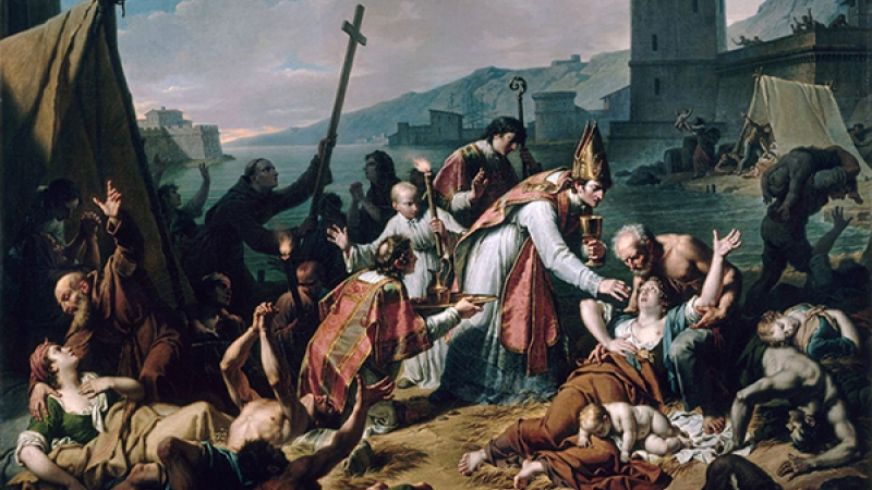 Catholic attitude in times of epidemic: The Dedication of Mgr de Blesunce during the plague of Marseille in 1720, by Nicolas André Monsiau (1818)