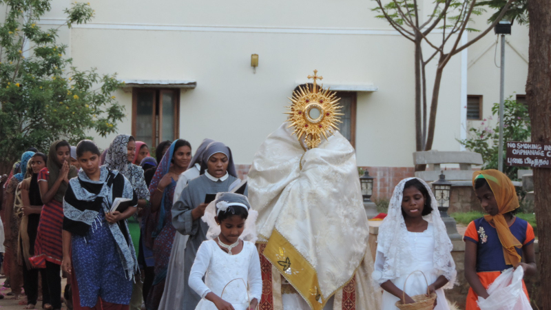 Procession of the Blessed Sacrament in Palayamkottai