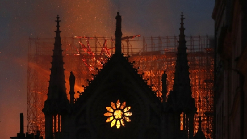 The burning cathedral of Notre-Dame